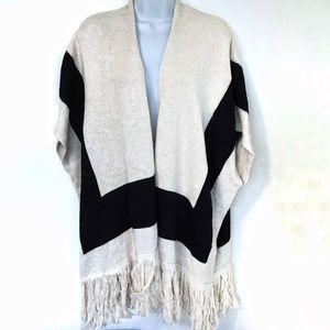 Echo Colorblock Knit Fringe Kimono